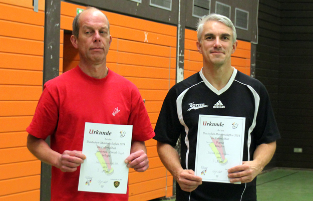 DM-Dritte im Senioren-Doppel: (v.l.) Detlev Stegmann und Ralf Holt. (Foto David Zentarra)