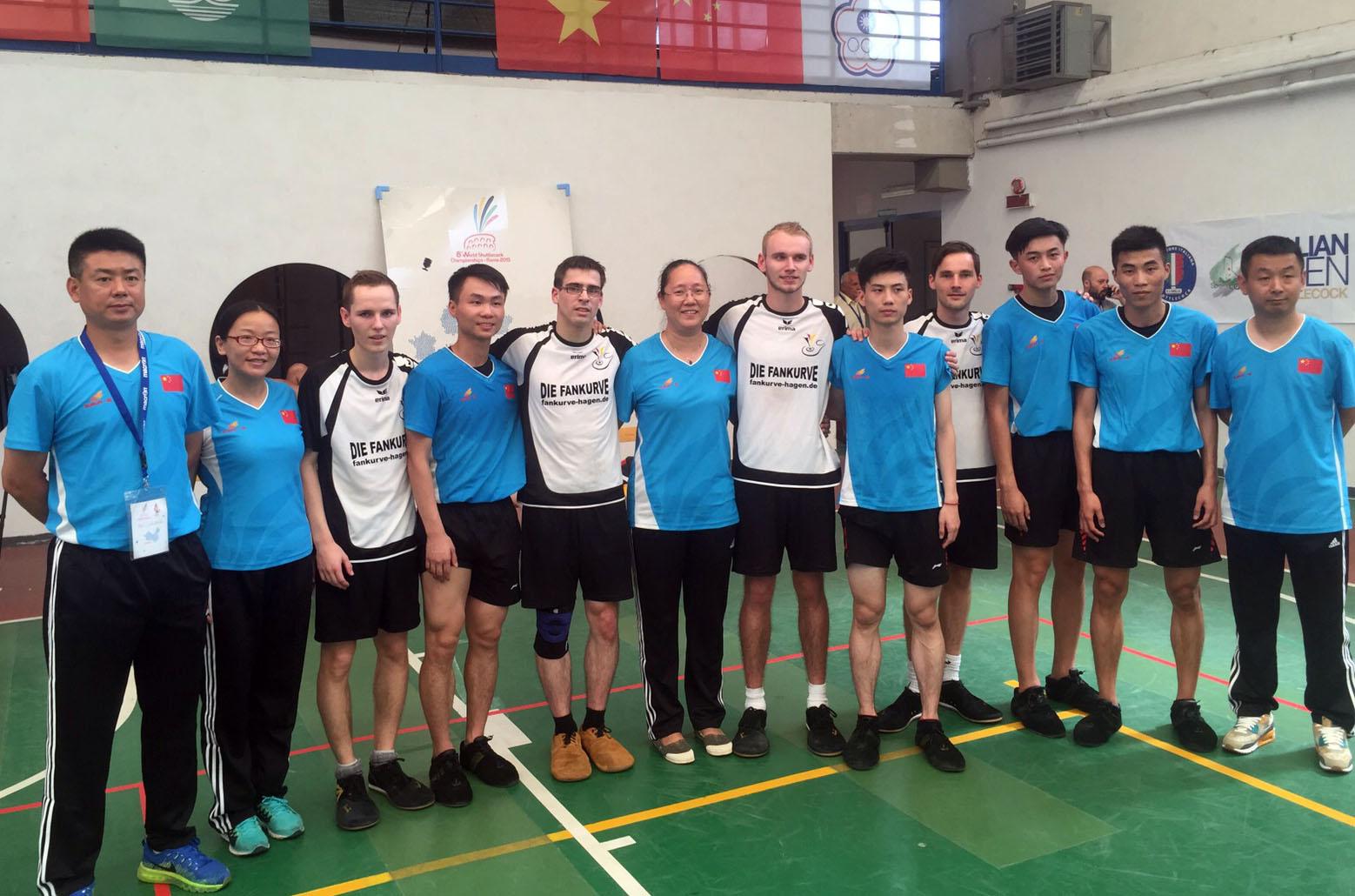 Erinner4ungsfoto nach dem Match gegen China: (v.l.) Torben Nass, Philipp Münzner, Philip Kühne und Noah Wilke.