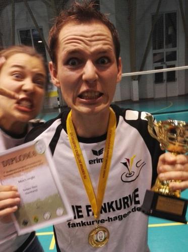 Bild Jubel: Torben Nass kann nach dem Gewinn des EM-Titels sein Glück kaum fassen. (Foto Philipp Graefenstein)