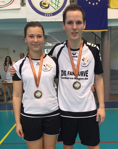 Das Mixed-Doppel mit Lina Marie Kurenbach und Torben Nass bejubelte den Gewinn der Bronzemedaille bei der Europameisterschaft. (Fotos David Zentarra)